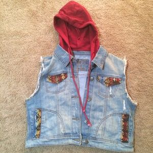 Rue21 Distressed Tribal Jean Vest with Hood